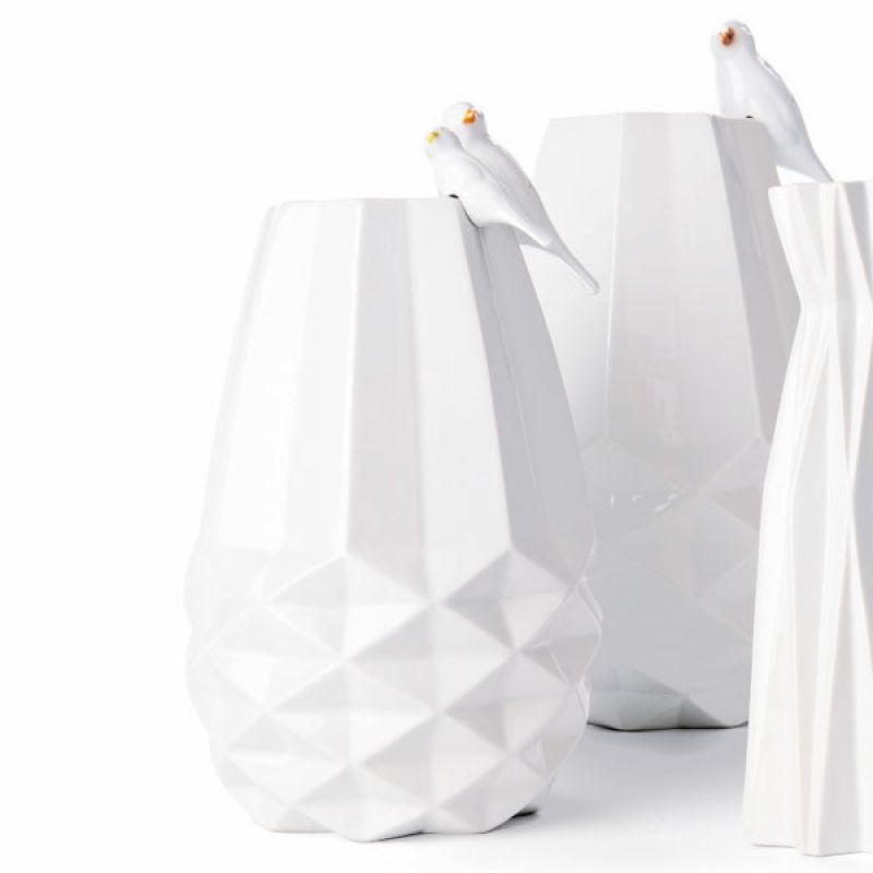 FAIRTRADE VASE DIAMANT - weiss Keramik