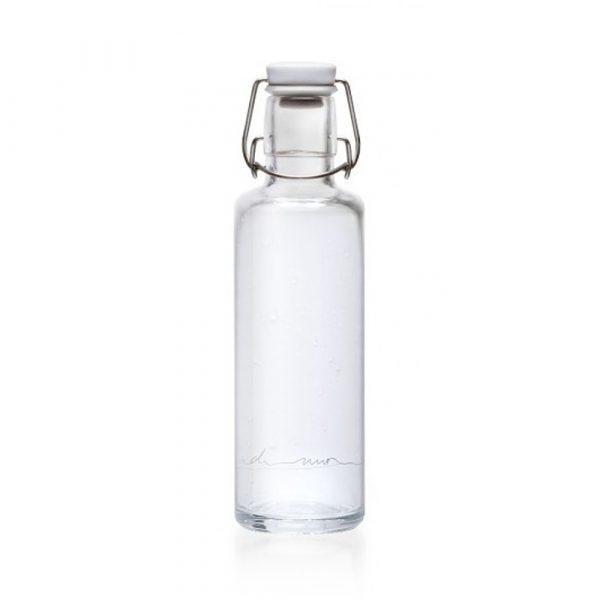 """SOULBOTTLE - 0.6L - Trinkflasche aus Glas """"EINFACH NUR WASSER""""-0"""